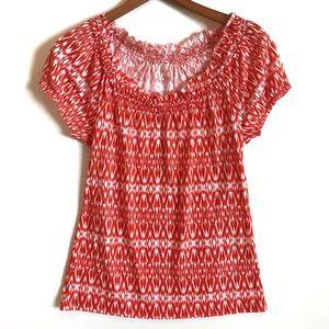 LOFT Ann Taylor Tribal Print Peasant Shirt Size XS